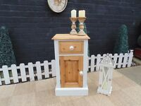 STUNNING SOLID PINE FARMHOUSE SIDE CABINET VERY SOLID UNIT PAINTED WITH LAURA ASHLEY CREAM COLOUR