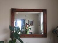 Stained oak large mirror