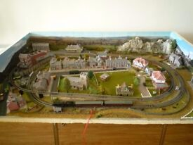 New N Gauge Model Railway Village Layout - complete with rolling stock & vehicles