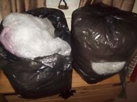 6 bin liners of used clean bubble wrap, large & small bubbles ideal house move or ebayer