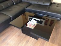 Stunning black glass coffee table/storage unit