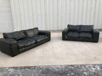 Black Italian leather 3 and 2 sofa/couch/suite CAN DELIVER