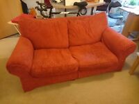 Red sofabed sofa two seater, removable cover