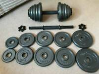 2x15kg Dumbells with Workout Bench