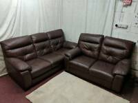 Brown leather 3 and 2 seater sofas good condition