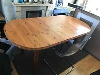 STURDY EXTENDABLE PINE 4-6 SEATED WOOD FAMILY FARMHOUSE DINING KITCHEN TABLE SUIT LANDLORD RENTAL