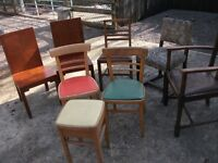 JOB LOT OF 10 ANTIQUE AND VINTAGE/RETRO CHAIRS LLOYD LOOM TYPE COMMODE