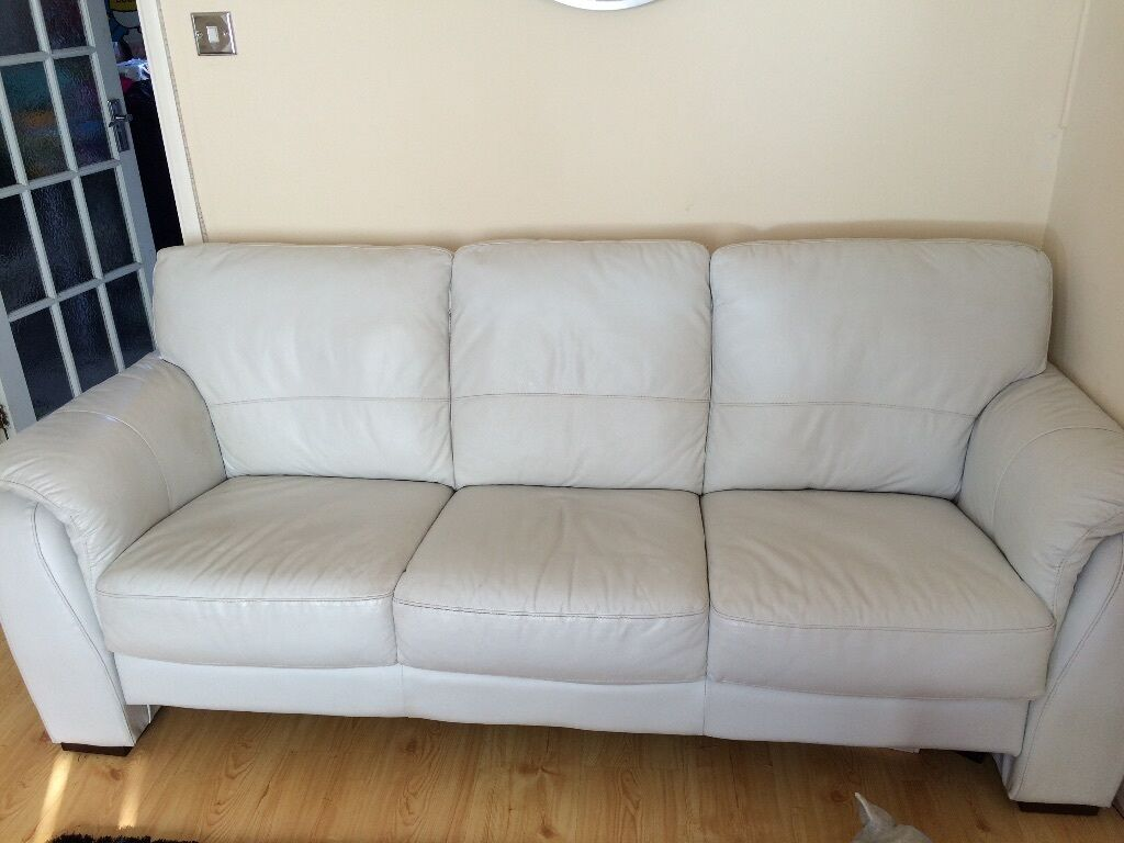3 seater leather sofa light grey very good condition 200 for Light gray leather sofa