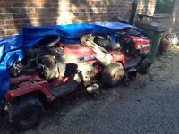 Two Honda ride on lawn mowers, for spares or repair.