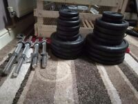 """1""""standard weight set with sit up bench"""