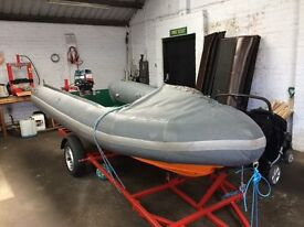 14 ft rib with 20 hp outboard £1895 may swap or px car / van