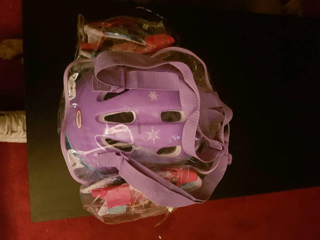 Frozen bike helmet knee and elbow pads