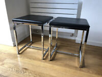 2 black & chrome square stools in very good condition - N5