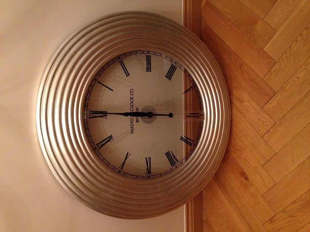 Furniture Village Ilford madison clock co est 1847 - silver round classic design. from