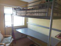IKEA Svärta Loft Bed / High Sleeper with Desktop