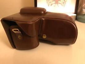 Megagear 'ever ready' dark brown leather camera case