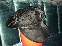 1980s BLACK VELVET PEAKED, FLOPPY CAP HAT