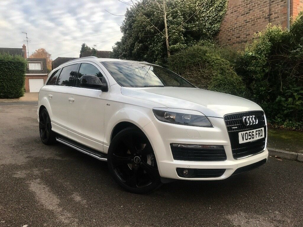 audi q7 white s line full abt kit 22 gloss black alloy wheels full black leather in. Black Bedroom Furniture Sets. Home Design Ideas