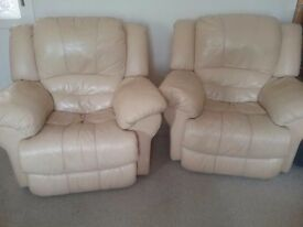 Lovely comfy leather recliner armchairs mecanical x 1 electric x 1