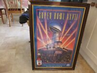 FRAMED 1993 SUPERBOWL POSTER IN A NICE WOOD FRAME IN GOOD CONDITION GREAT ART WORK ONLY £10