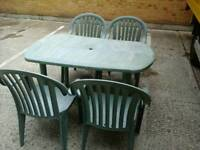 Plastic garden table and 6 chairs with stand and umbrella