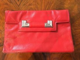 Vintage 1940s red leather clutch bag