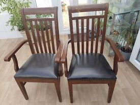 6 Dining table chairs real leather seats