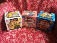 Brain Box card games; Animals, Inventions and The World. Great fun! Used condition. bargain!