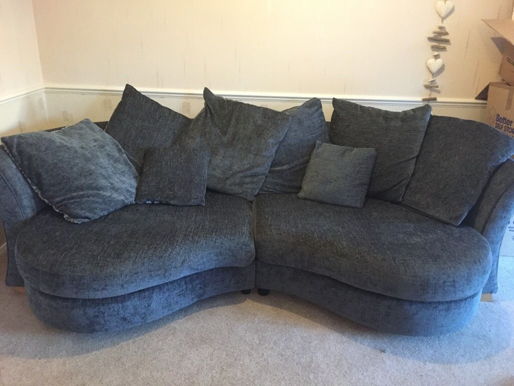 Large Grey Kidney Shaped Sofa