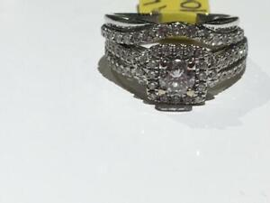 #166 WOW BEAUTIFUL 14K WHITE GOLD VERA WANG DIAMOND WEDDING SET 1.20CTW! *SIZE 5* APPRAISED AT $7550, SELLING FOR $1900!