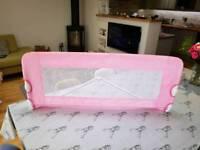 Tomy pink girls folding bed guard rail
