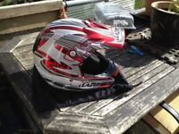 LAZER XL HELMET MX6 SX MOTO-X HELMET, BLACK/GREY/RED