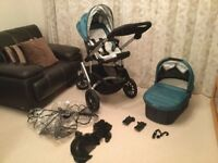 Uppababy Vista green pushchair and carrycot