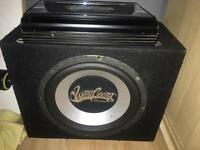 Westcoast car amp and 12 inch sub in box alpine pioneer