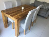 Oak Furniture Land Dining Table & 4 x Chairs