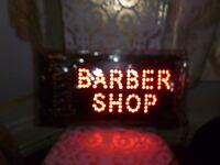 "barber shop sign with light width 19"" x 10"" was £45 now £20"