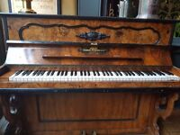 Antique upright piano in beautiful walnut case by Samuel Howard & Co No.3253