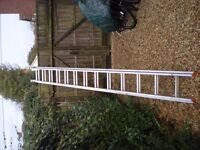 Ladder 2 section extension, aluminium, lightweight, 3.1m closed to 7.1m extended