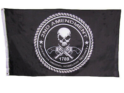 3x5 2nd second Amendment America's Original Homeland Security 1789 Skull Flag