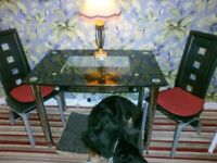 Black and chrome glass dining table and two chairs.