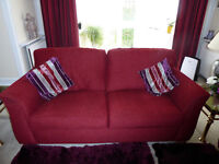 "Alstron 3 Seater ""Valencia"" Soft Cushioned Red Fabric Sofa £125. +PLUS + Matching 2 Seater for £100."