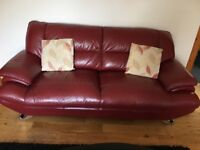 2 and 3 seater red leather modern sofas.