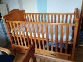 Mamas & Papas cotbed with drawers (and mattress if wanted)