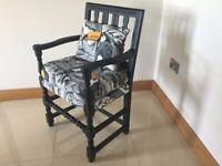 Black unique carver shape chair in toucan velvet fabric