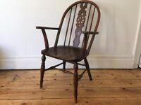 Antique Windsor Wheelback Large Arm chair Victorian Elm Seat