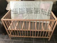 Baby cot with mattress (NEW)