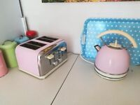 kettle and 4 slice toaster set pink