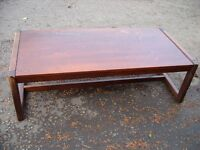 rectangular shaped pine coffee table