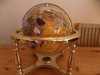 GLOBE WITH SEMI PRESCIOUS STONES AND COMPASS