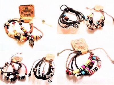 Wholesale Job Lot 100 Leather Rope Charm Friendship Bracelets - Various Designs